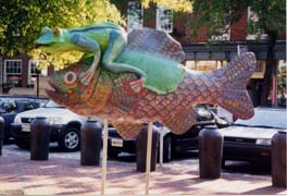 [photo, Giddy Up, frog on fish (fiberglass), by Wendi Wobbe and Christina Davidson, Fell's Point, Baltimore, Maryland]