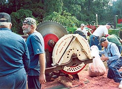 [photo, Cedar shingles cutting demonstration, Anne Arundel County Fair, Crownsville, Maryland]
