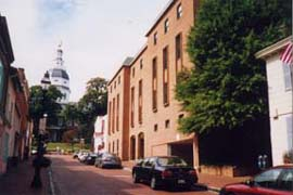 [photo, Jeffrey Building (right), State House in background, Annapolis, Maryland]