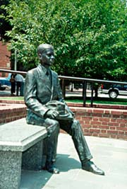 [photo, Donald Gaines Murray statue at Thurgood Marshall Memorial, Lawyers' Mall, Annapolis, Maryland]
