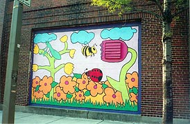 [photo, Mural of bumblebee, ladybug, and grasshopper in garden, Fleet St. (near South Caroline St.), Baltimore, Maryland]