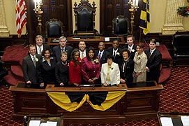 [photo, City Council members after being sworn in at City Hall, 100 North Holliday St., Baltimore, Maryland]