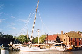 [photo, Skipjack Norman Lewis docked at Annapolis harbor, Annapolis, Maryland]